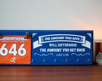 Running Medal Holder and Bib Display Plaque, Hand Painted Wood Sign, The Amount You Give; Luke 6:38, Marathon, 10k, 5k