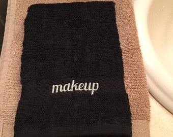 Makeup Washcloth, Black, Embroidered, Hostess Gift, Housewarming Gift