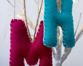 Hand made felt letters, initials, decorations
