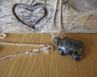 Necklace with a Semi Precious Hematite Tortoise Pendant on a 925 Silver Ball Chain