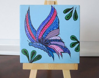 Zentangle Butterfly Drawing on a Mini Canvas