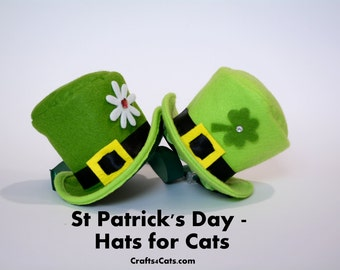 Irish Cat Top Hat -  St Patrick's Day Shamrock Hat - Pet Top Hat - Lightweight Cat Top Hat - Green Felt Hat for Dog
