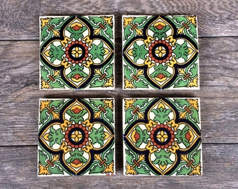 Green Mexican Tile Coasters