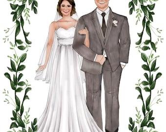 Custom Illustration Bride and Groom Portrait