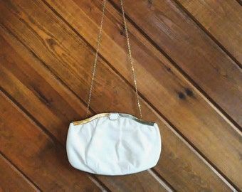 50s White Leather Purse by Extra - 1950s Evening Bag- 50s Clutch