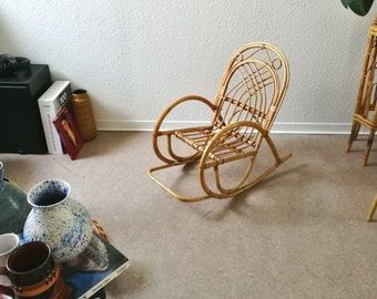 vintage bamboo rocking chair for children rattan boho midcentury  homedecor kids room decoration chair eclectic south of france