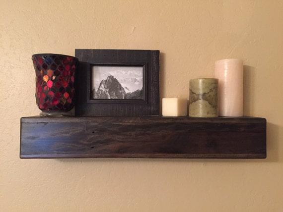 24 floating shelf reclaimed wood shelves pallet wood for Pallet floating shelves