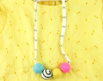 Multi Color Baby Necklace |Toddler, Girl Bubblegum Necklace | Girl Jewelry | Little Girl Necklace | Bubble Gum Necklace | Felt Ball Necklace