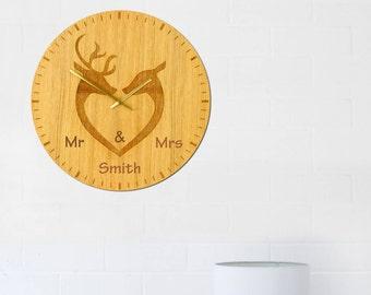 Deer Couple Personalised Wall Clock Large Natural Oak Face 40cm