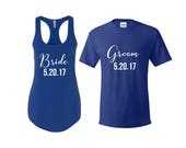 Bride and Groom Shirts, Bride Shirt, Groom Shirt, honeymoon shirts, engagement gift, Mr and Mrs Shirts