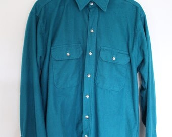 Vintage Turquoise WearGuard 100% Cotton XL Long-sleeve Shirt