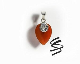 Carnelian July Birthstone Necklace Red Gemstone Pendant Sterling Silver Jewelry Red Carnelian Pendant Silver Jewelry Orange Necklace Gems