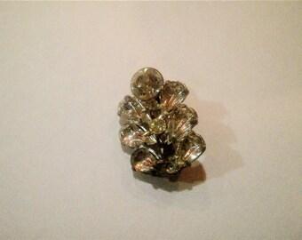 Vintage Clear Rhinestone Leaf or Flower Brooch