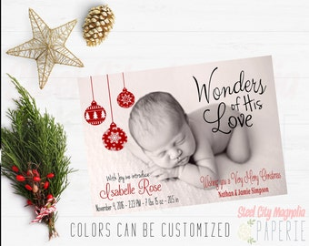 Christmas Birth Announcement, Holiday Photo card, Wonders of His Love, digital printable