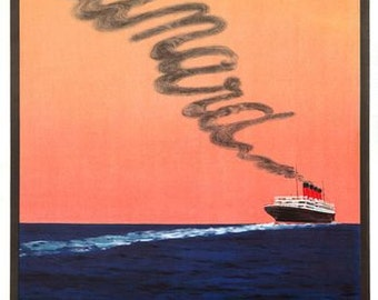 Vintage Cunard Cruises To America Poster A3 Print