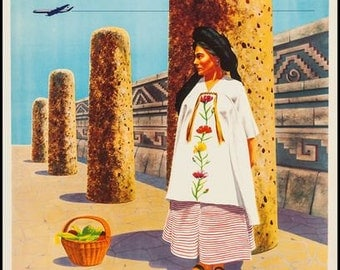 Vintage Mexicana Airlines Flights to Oaxaca Poster A3 Print