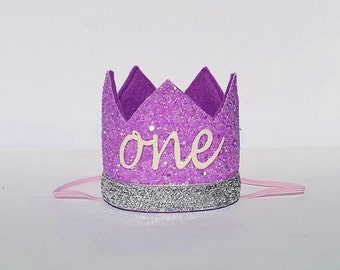 Baby Girl Lavender Lilac Purple and Silver Sophia First 1st Birthday Party Glitter Crown Hat for Cake Smash Photo Prop Pictures ONE