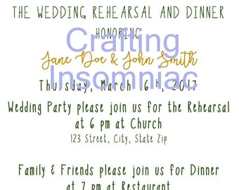 Floral Wedding Rehearsal Invitation