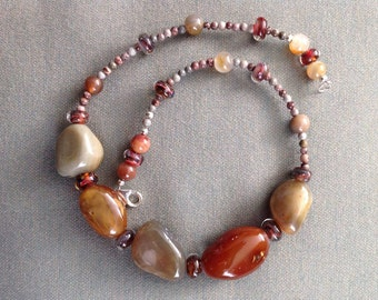 Polished gem stones and boro bead necklace 21""