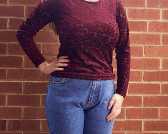 Burgundy burnout velvet long sleeve top with rose pattern sz S