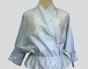 70s amazing blue vintage wrap blouse // Vintage wrap blouse // Vintage blouse  // 70s