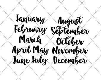 INSTANT SVG/DXF, Month Script Titles January-December svg, cut file, New Years svg, Calendar month title svg cut, 2017, month names script
