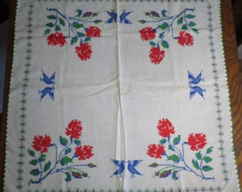 Vintage Hand Embroidered Linen Red, Green, and Blue Card Table Cloth with Roses and Bluebirds