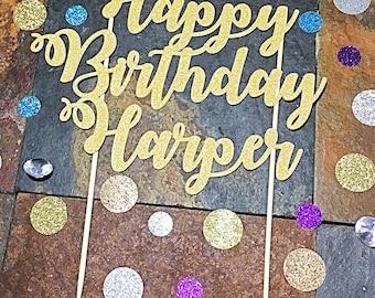 Custom Name Happy Birthday Cake Topper/Happy Birthday Name Cake Topper/Happy Birthday Custom Cake Topper
