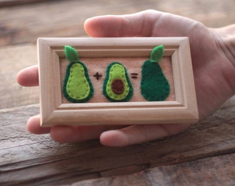 Little Avocados Framed Picture Kawaii  Nursery Decor Wall Art Wall Hanging Framed Felt Mountain Tapestry, Avocado Home Décor, Wood Frame