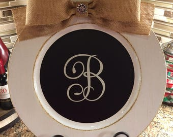 Monogrammed Charger Plate w/ Chalkboard Vinyl Rustic