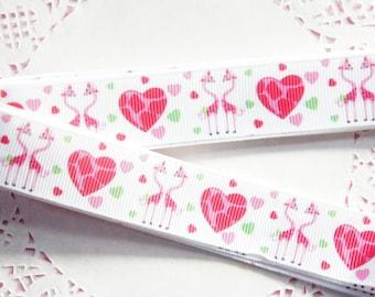 Pink Giraffe Valentines Grosgrain Ribbon (1yrd)