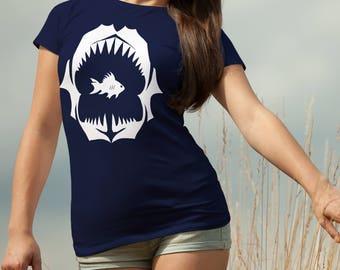 Shark Jaws Tee for Women - Scary Marine Life T-shirt - Deep Sea Shirt for Her - Shark Teeth Shirt - Shark Jaws T-shirt - Scuba Diving Shirt