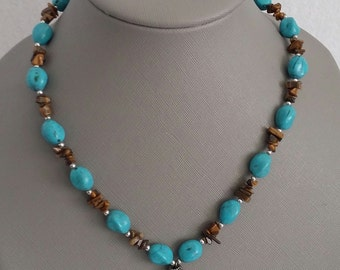 Brown and Turquoise silver tone beaded necklace
