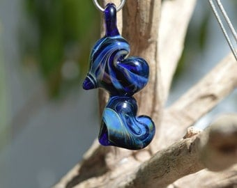 Hand Blown Glass Pendant - 2 Silver Fumed Cobalt Hearts