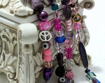 Pink Silver Purple Elegant Statement Necklace with Crystals, Hematite, Peace Symbol, Evil Eye, Czech Beads, Rhinestones, Pearls Indian Glass