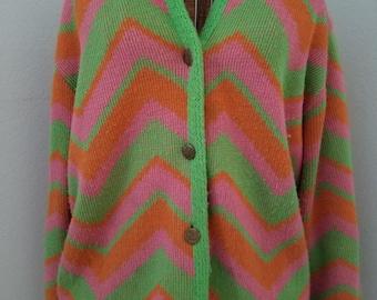 Super Cute and Cozy! Bohemian Bright Retro 1960's/1970's Chevron Print Cardigan Sweater - Sherbert Colors! Orange, Green, Pink. Button Up!