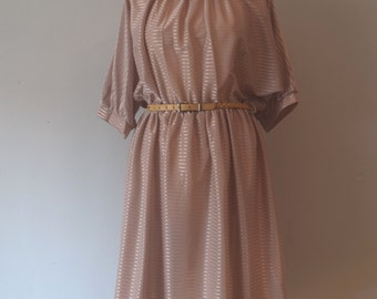 80s Vintage Champagne Pink Dress / Midi Dress / Stripped / Batwing Sleeves / Woman / Large