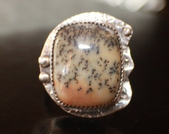 Handmade sterling and fine silver ring with dendritic agate