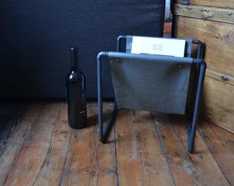 Copper stand, Oxidized copper, Grey leather holder, Magazine rack, Handmade furniture, Copper pipe, Copper anniversary, Newspaper stand