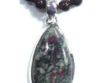Russian Eudialyte and Garnet Sterling Silver Necklace,  January Birthstone
