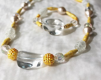Handcrafted Beaded Necklace and Bracelet Set with Handmade Yellow Paper Beads, Glass Beads, and Rounded Pendant