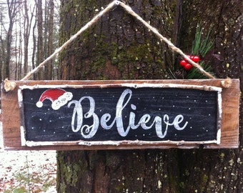 "Handmade Wooden ""Believe"" Christmas/Santa/Holiday Sign"