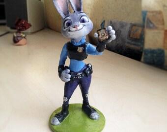 Judy Hopps. Zootopia Figure, Disney, Nursery decor, Cake topper, Children's room decor. Baby Animal. Sculpture,Officer Hopps, 3D Decor. hare
