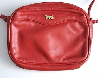 Vintage red leather bag, 80s leather bag, shoulder red bag, red leather purse, small red bag