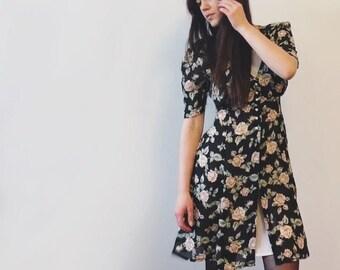 """VINTAGE """"CREME"""" Faux-Slip Floral Dress."""