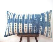 Authentic African Indigo Shibori Tie Dye Pillow Cover, Faded Denim Tribal Print Indigo Mudcloth Boho Pillow, Vintage Indigo Tie Dye Pillow