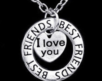 "Silver Dual Pendant Best Friend ""I Love You"" Necklace NK4057i"