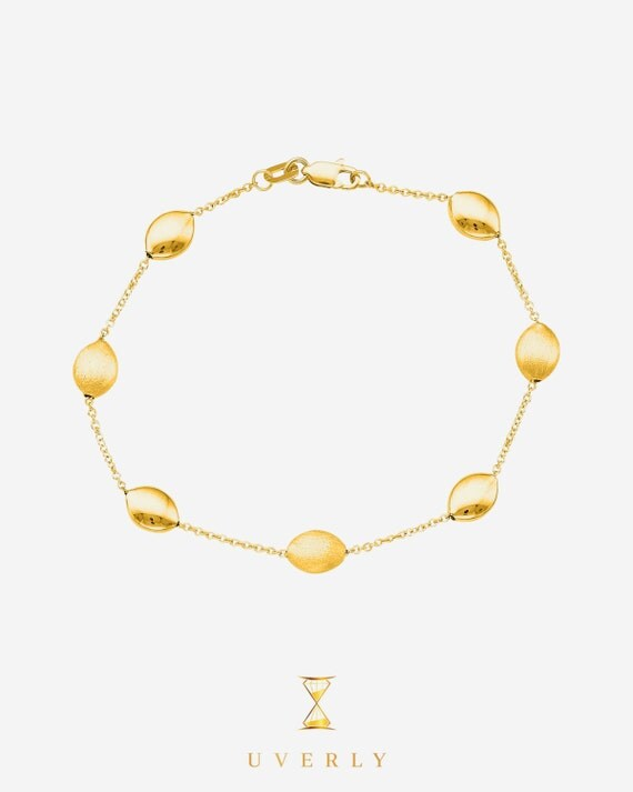 """14K Solid Gold Yellow Tri-Color Fine Pebble Womens Bracelet 6.75""""-7.25"""" inches"""