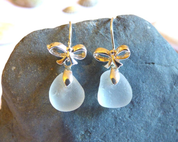 White Sea Glass Sterling Silver Bow-Topped Earrings - EE16002