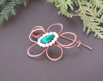 Fibula brooch copper agate flower Pin Wire Wrapped Jewelry Hammered Copper Shawl pin Scarf Celtic Brooch Copper WireWrap Celtic gift for her